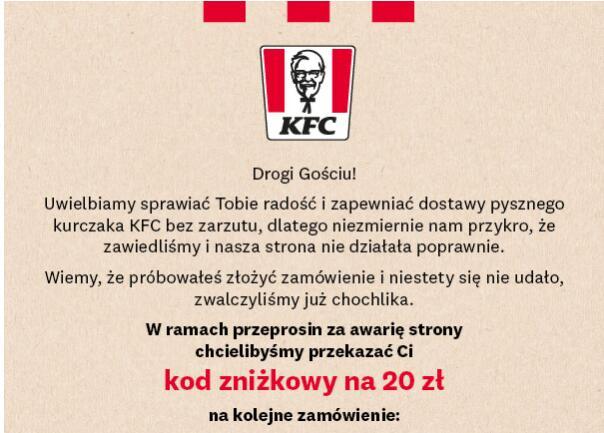 KFC - zniżka KFC DOSTAWA