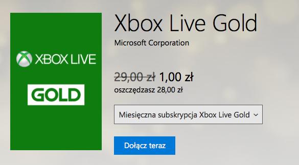 Miesięczny Xbox Live Gold za 1zł