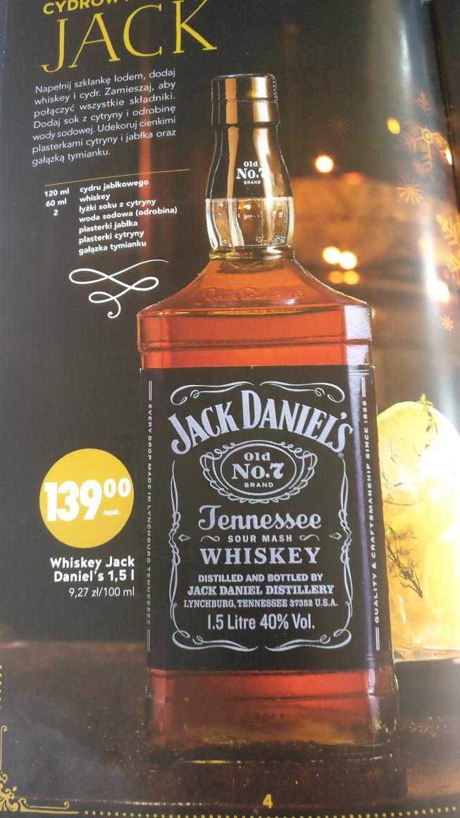 Jack Daniels 1,5l za 139 zł @ Biedronka