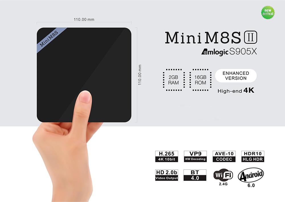Mini M8S II 4K Smart TV Box Amlogic S905X Quad Core Processor  -  2GB+16GB