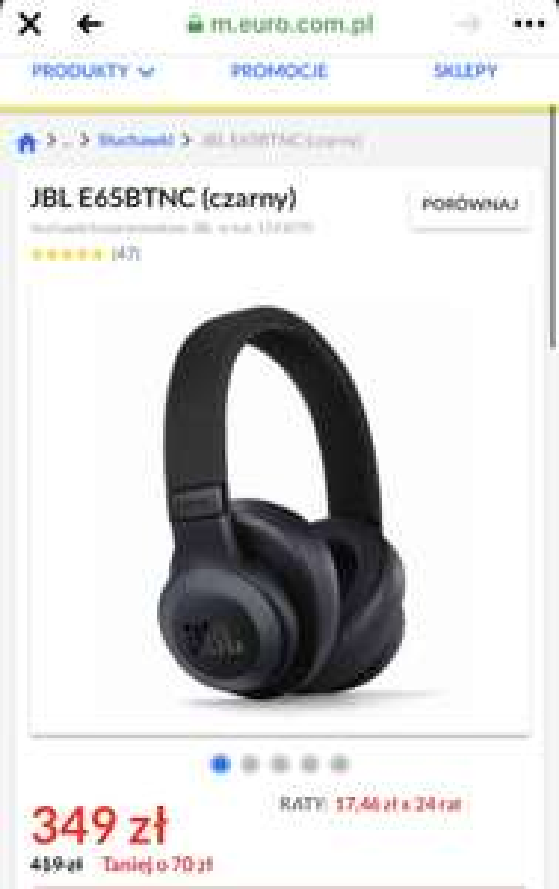 Słuchawki bezprzewodowe JBL E65BTNC