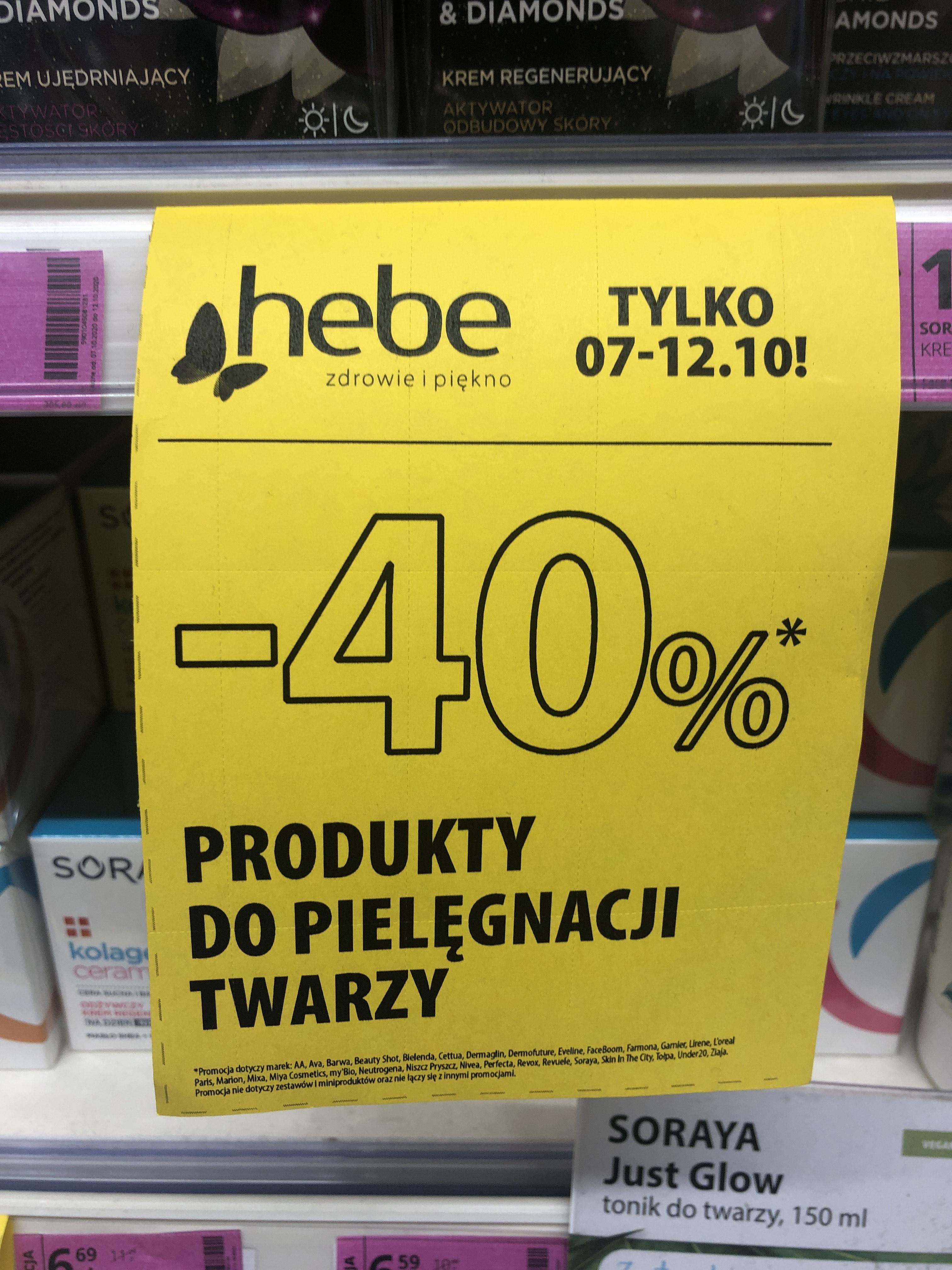Hebe -40% na produkty do pielęgnacji twarzy