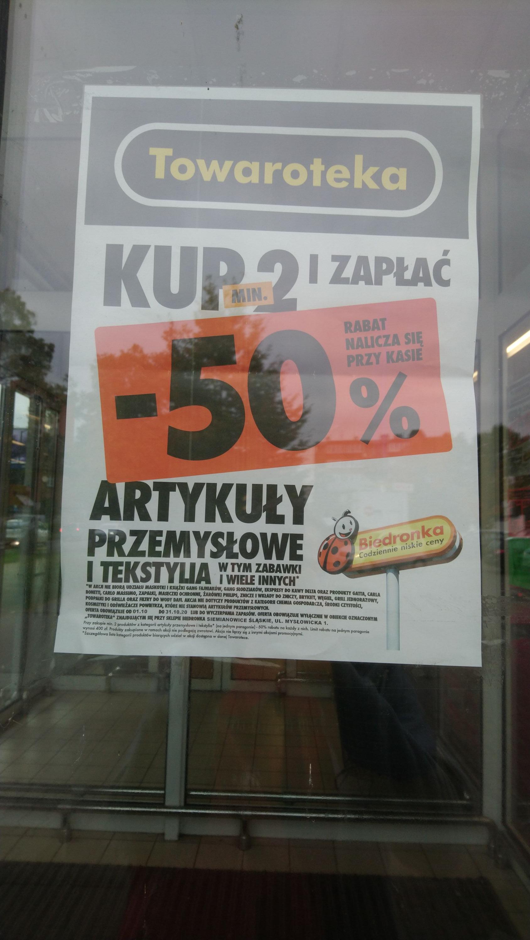 Kup 2 i zapłać -50 % mniej na każdy artykuł przemysłowy, tekstylia, zabawki i wiele innych, Biedronka Towaroteka Siemianowice Mysłowicka 1
