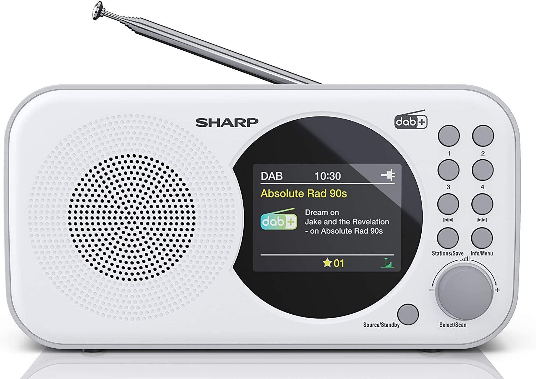 Radio Sharp DR-P320 DAB+ RDS zegar budzik, białe i czarne