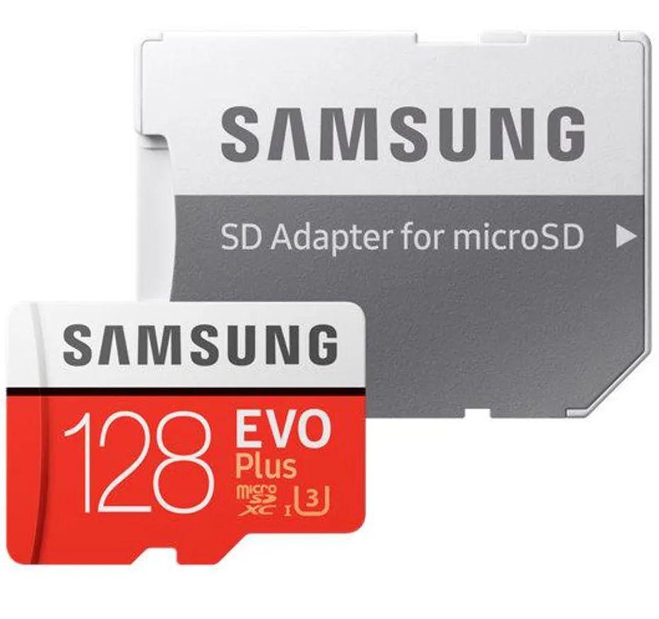 Karta pamięci SAMSUNG EVO+ microSD 128GB 100MB/s + SD MB-MC128GA/EU [stacjonarnie]