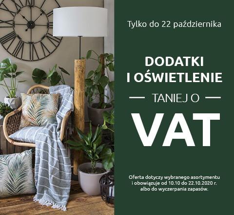 Dodatki i oświetlenie taniej o wartość podatku VAT w salonach Black Red White