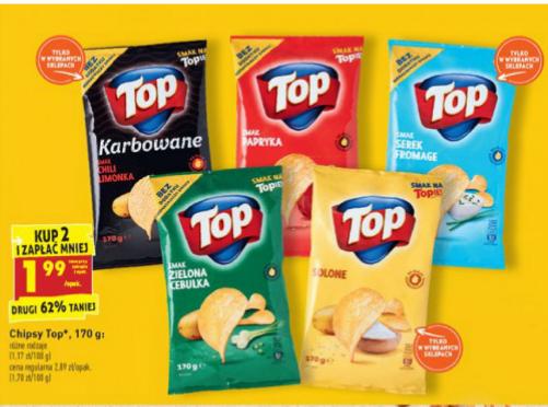 Chipsy Top Chips 170g przy zakupie 2 opak. Biedronka