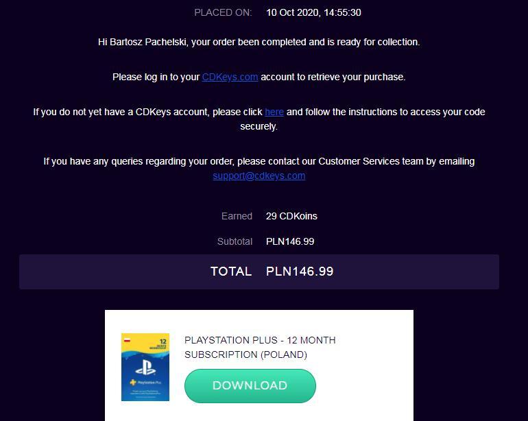 Playstation Plus 1 rok subskrypcja ( Europa / Polska )