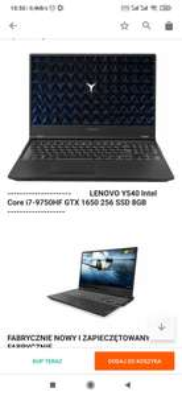 LENOVO Y540 i7-9750HF GTX 1650 256GB SSD
