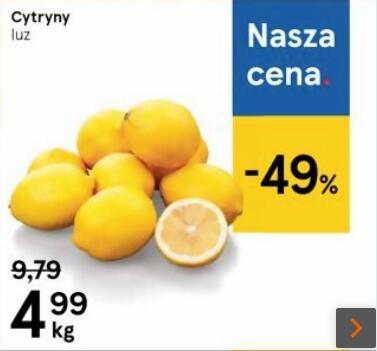 Cytryny 4,99 zł/kg. Tesco
