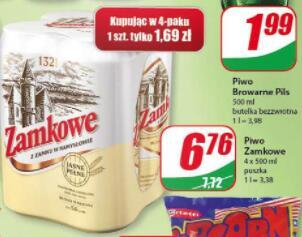 Piwo Zamkowe 0,5l 4-pak (sztuka 1,69 zł) @Dino
