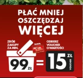 Za wydane po godz. 22:00 z kartą MB 99zł w Biedronce voucher 15zł na kolejne zakupy za 99zł @Biedronka