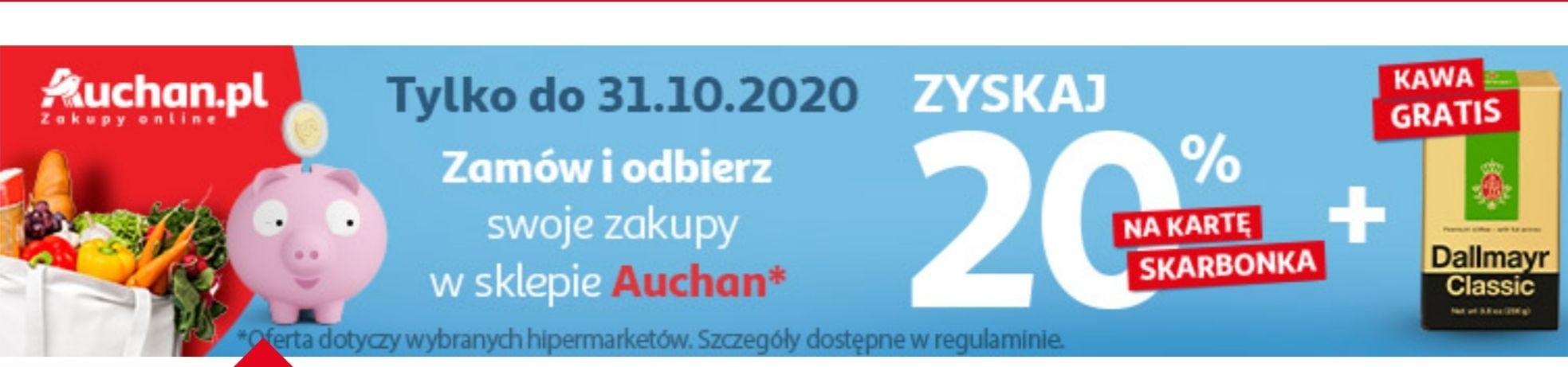 20% na kartę skarbonka w Auchan przy zakupach online