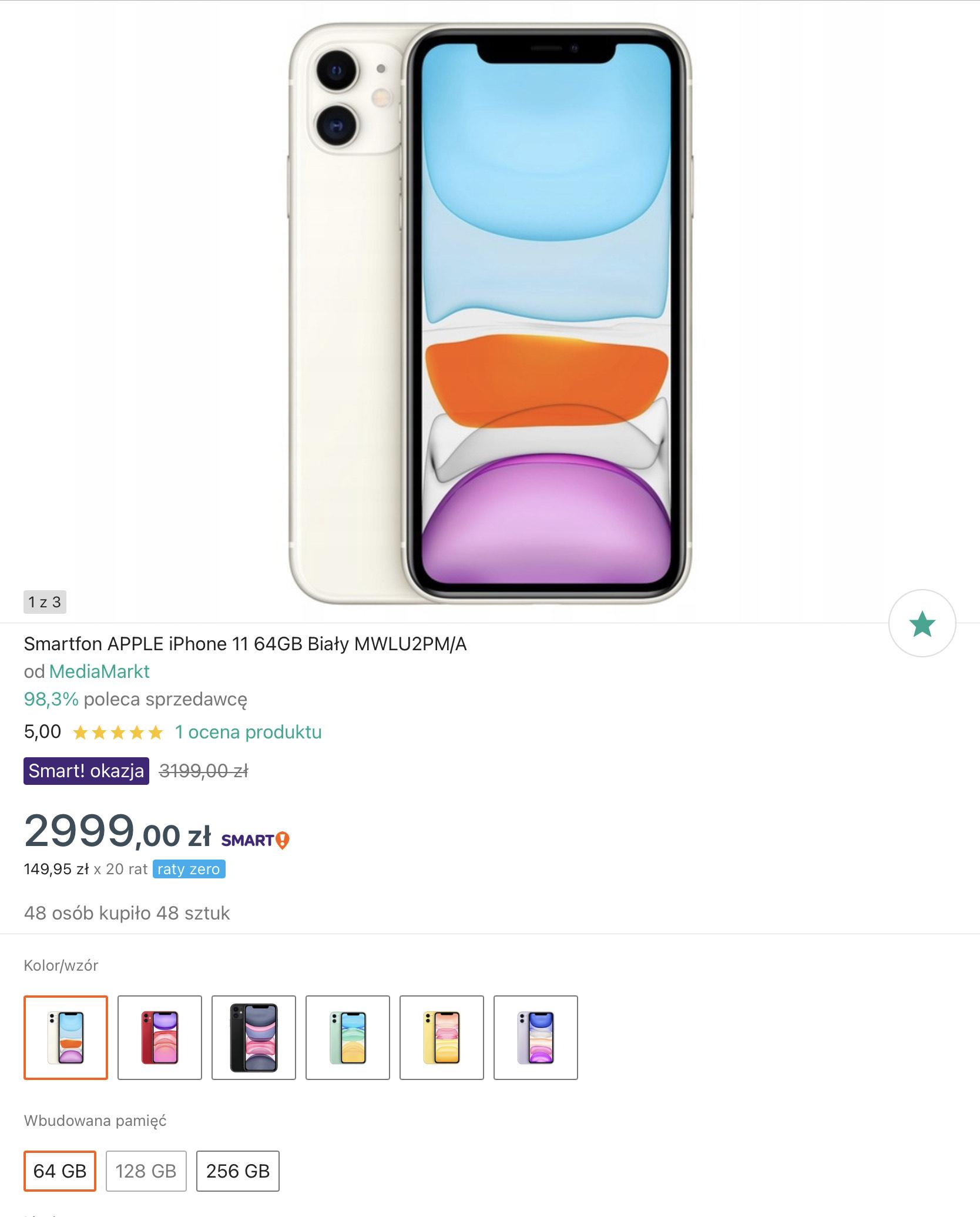 iPhone 11 64GB biały/czarny