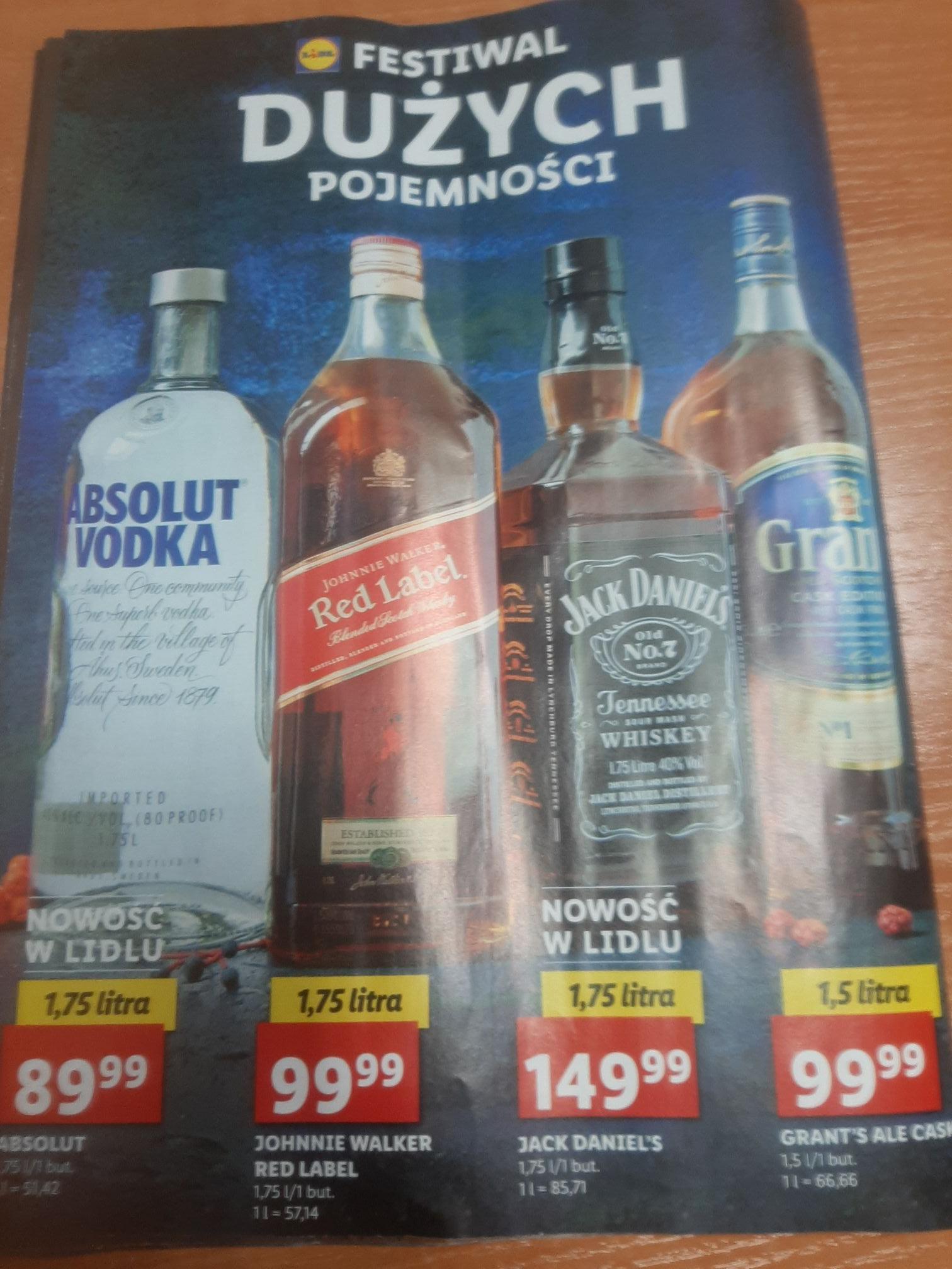 Katalog alkoholi mocnych - wódka, whisky, whiskey, likier, brandy - oferta zbiorcza LIDL, m. in. Jack Daniels 1,75l za 149,99 zł