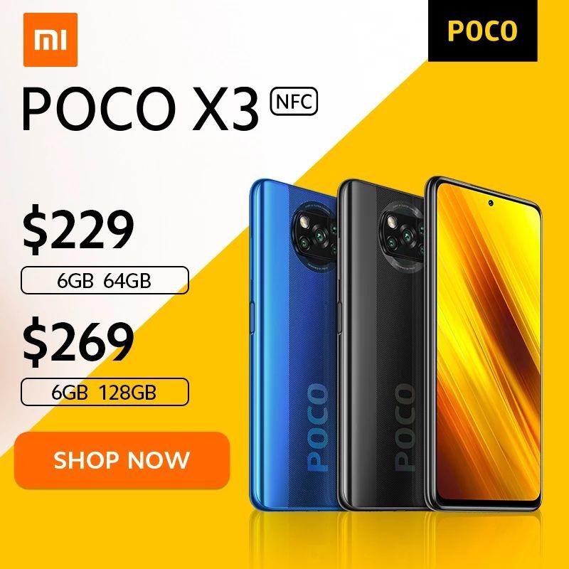 POCO X3 NFC Snapdragon 732G Xiaomi Smartphone 64MP kamera 5160mAh 33W, 219$