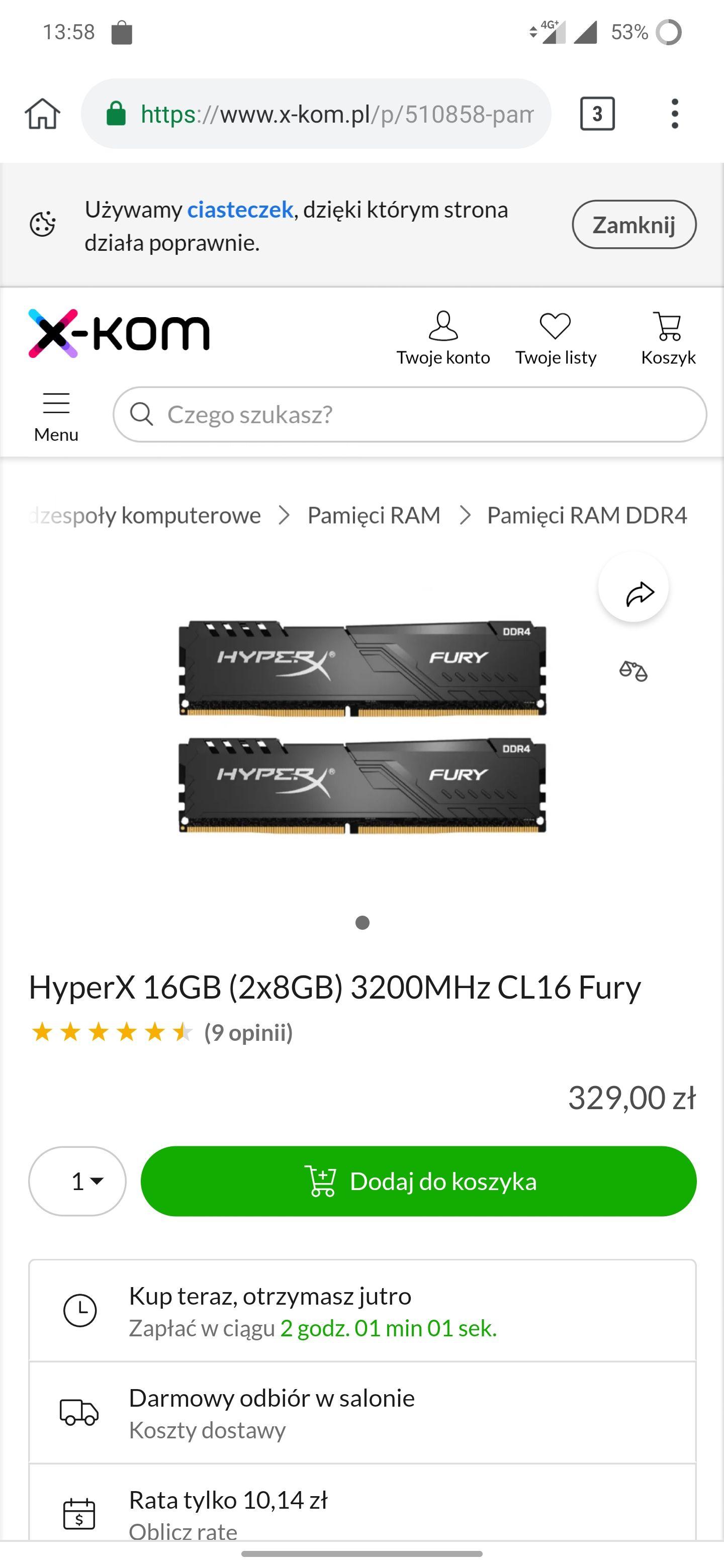 Pamięć RAM HyperX 16GB (2x8GB) 3200MHz CL16 Fury