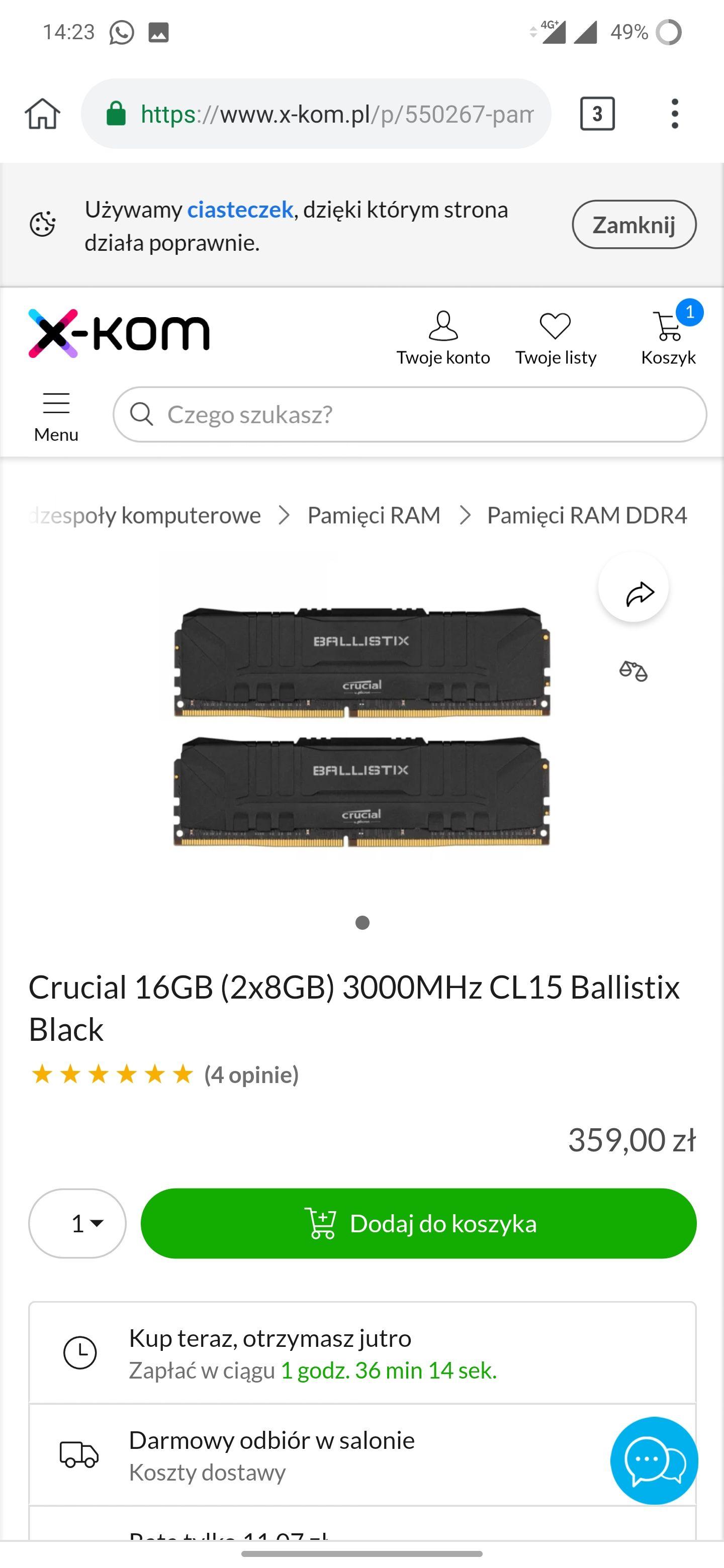 Pamięć RAM Crucial 16GB (2x8GB) 3000MHz CL15 Ballistix Black