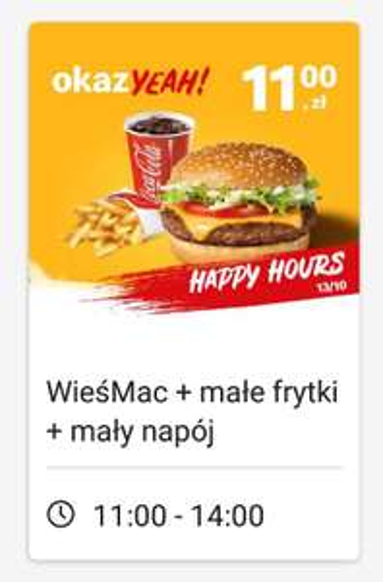 Happy hours w McDonald's Wieśmac + mały napój+ małe frytki