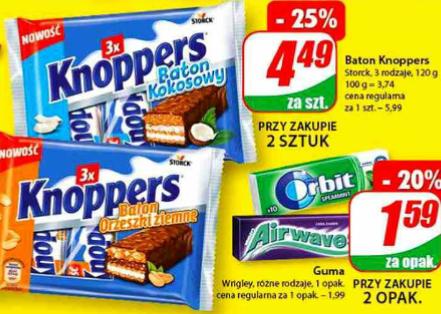 Baton KNOPPERS 3-pak. 3 x 40g. Dino