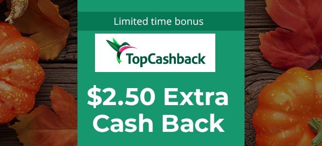 EXTRA 2.5$ zwrotu za min.10$ z TopCashback.com