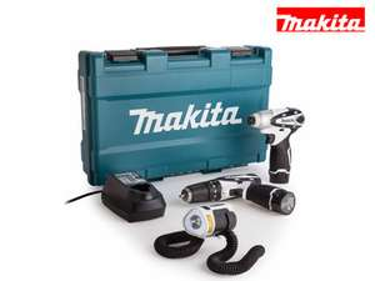 Zestaw narzędzi Makita 10.8V Limited Edition z wiertarko-wkrętarką, lampą LED oraz walizką