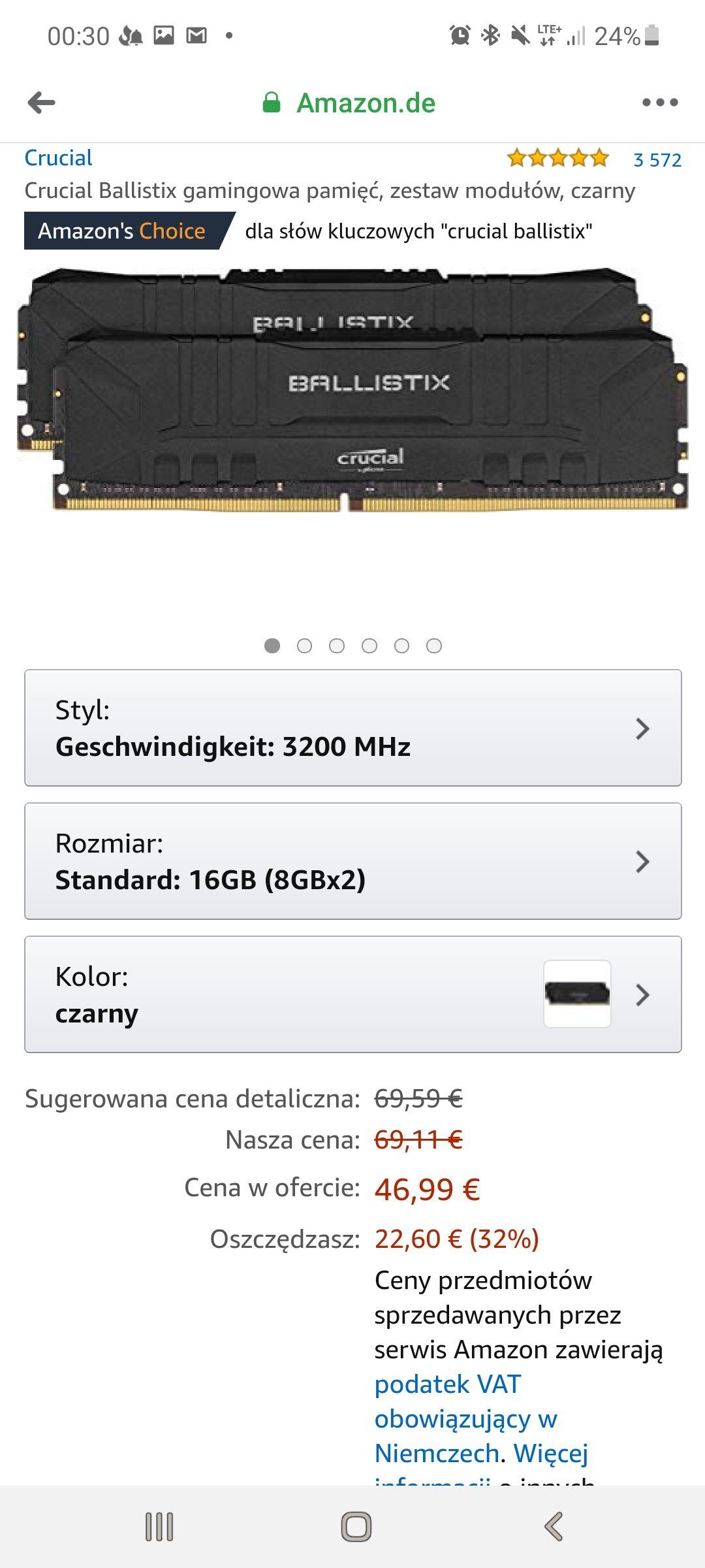 Pamięć RAM Crucial Ballistix 16GB DDR4 3200MHz