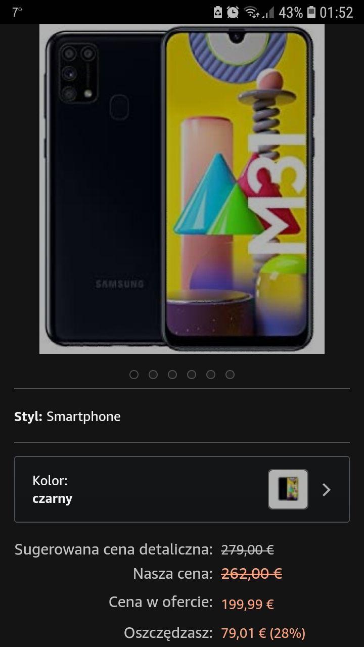 "Samsung M31 6,4"", 6/64, 6000 mAh na Prime Days"