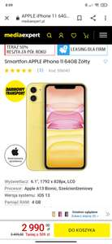 Smartfon APPLE iPhone 11 64GB Żółty