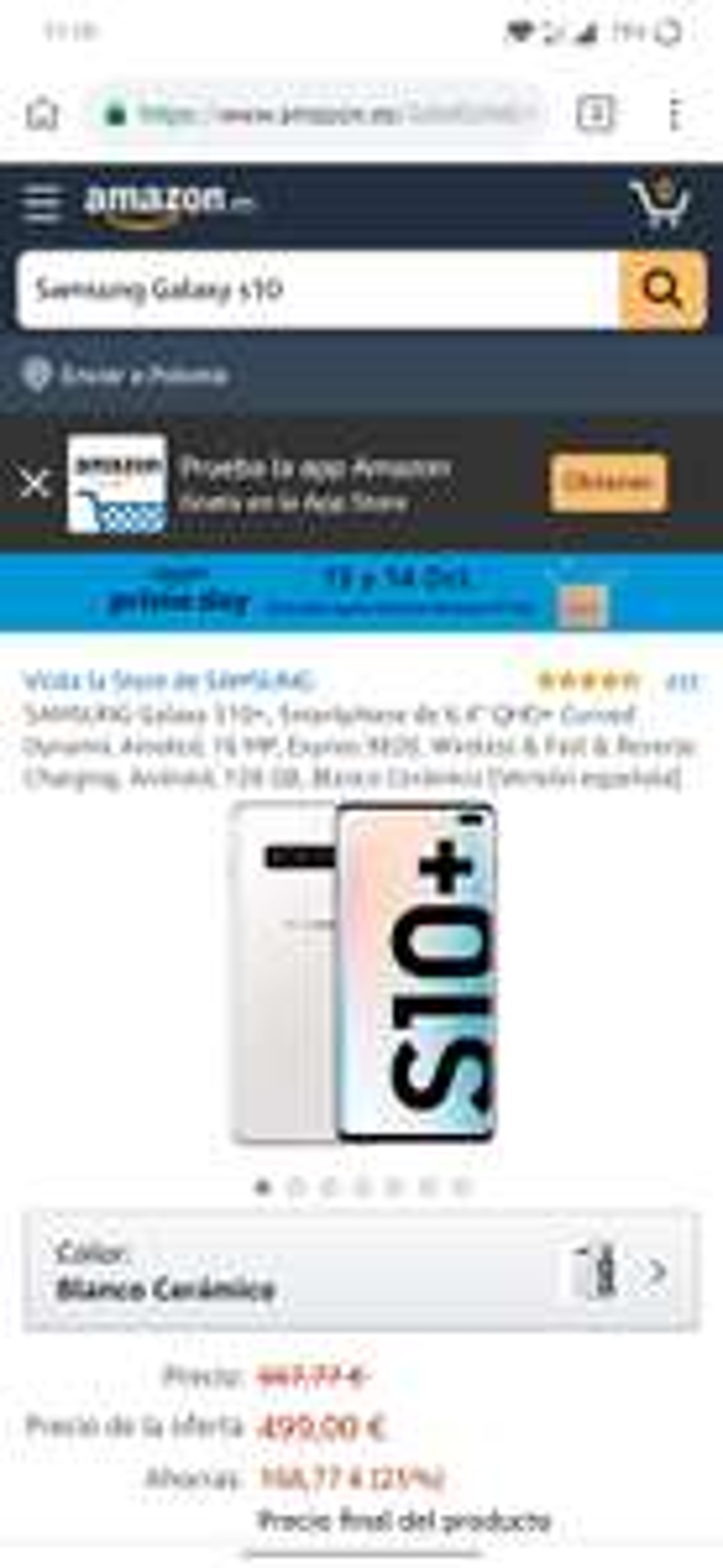 Samsung Galaxy s10+ 499euro (prime)