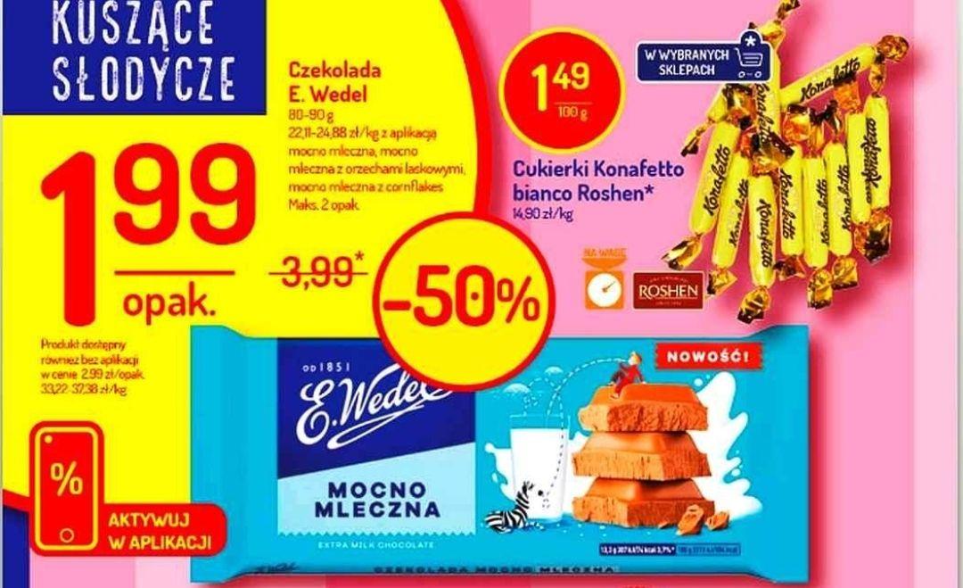 Czekolada Wedel za 1.99 z kuponem Delikarta - Delikatesy Centrum