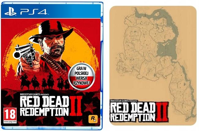 RED DEAD REDEMPTION II 2 PS4 PL MAPA - NOWA FOLIA + 4 monety