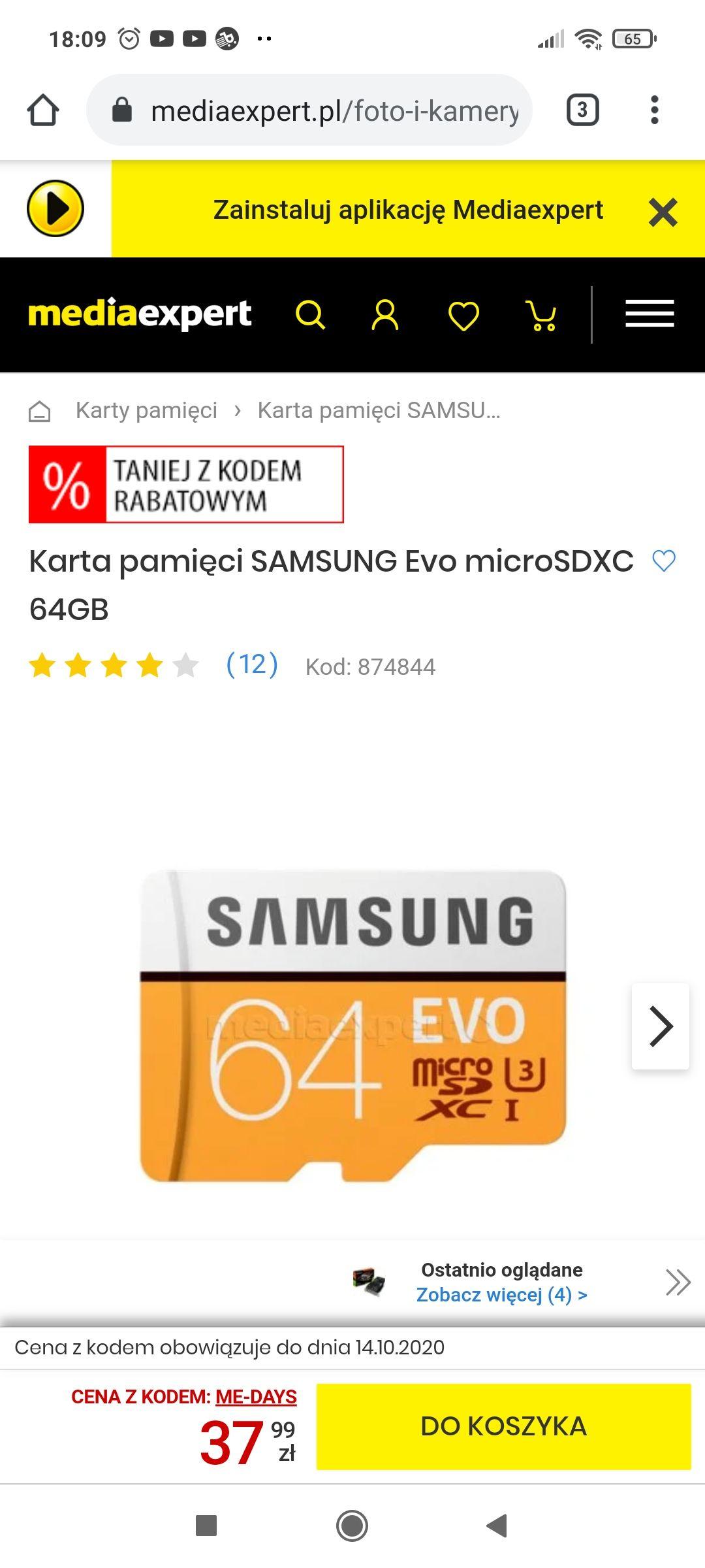Karta pamięci Samsung microsdxc Evo 64gb kod zniżkowy +free przesyłka