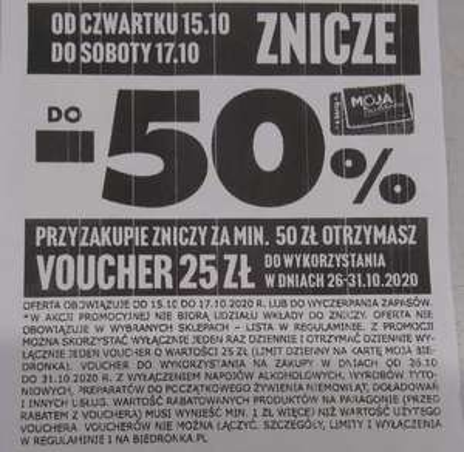 Przy zakupie zniczy za min. 50 zł voucher na 25 zł - Biedronka