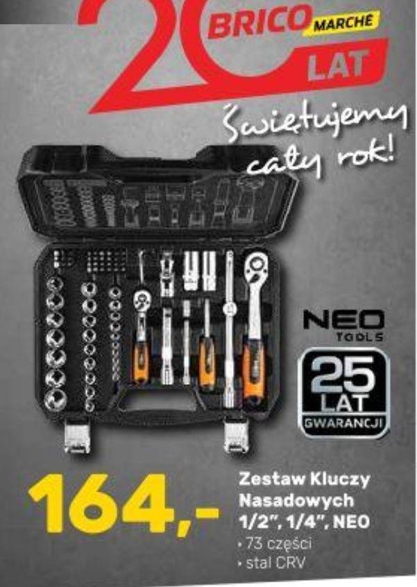 """Zestaw kluczy nasadowych NEO 1/2"""", 1/4"""", 73 części, Stal CrV, 25 lat gwarancji - Bricomarche"""
