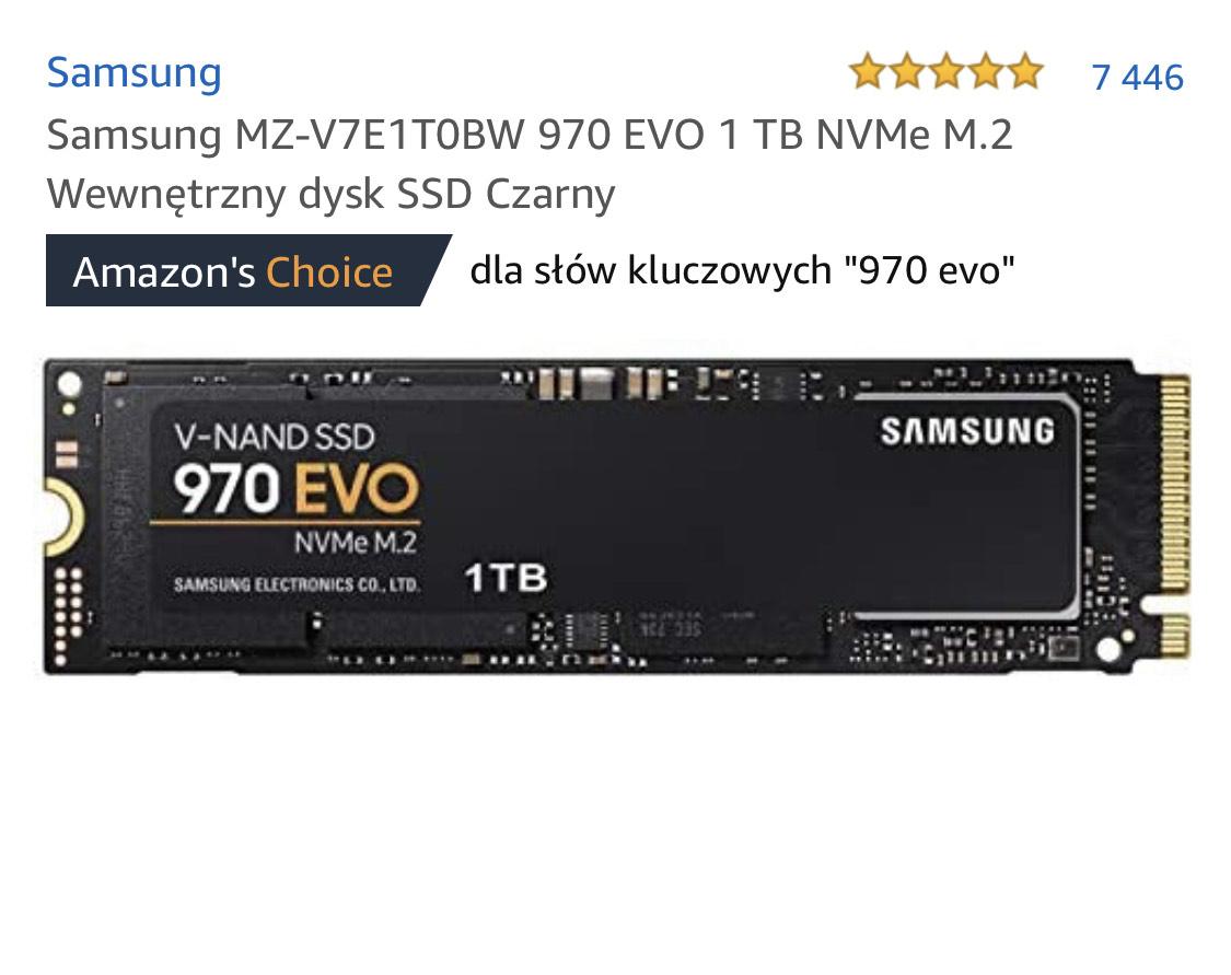 Dysk Samsung 970 EVO 1 TB NVMe M.2 (Amazon Prime)