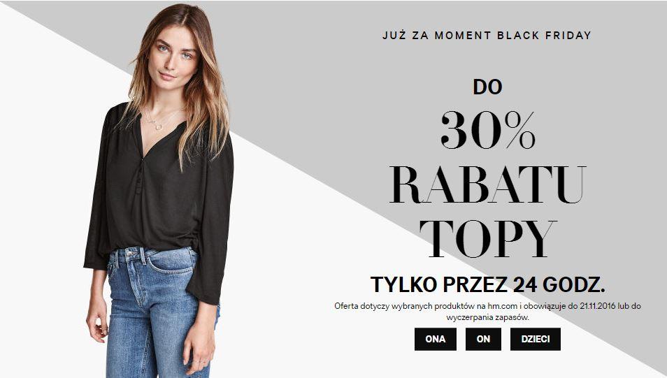 [Black Friday] do  30% rabatu na topy, koszulki, swetry i bluzy @ H&M