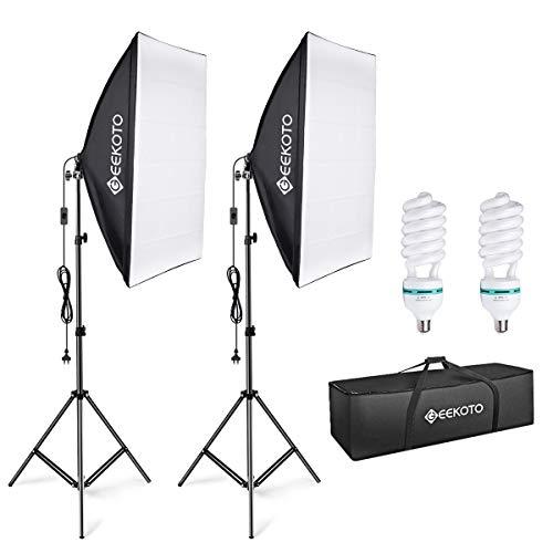 2x Softbox GEEKOTO 50x70cm 85w Oświetlenie ciągłe - Amazon Prime Day 39.16 Eur