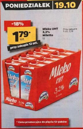 Mleko UHT 3,2% 1l przy zakupie 12 opak. @Netto