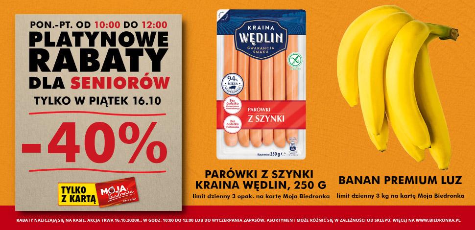 Platynowe rabaty dla seniorów od 10:00 do 12:00 (Parówki oraz Banany) - Biedronka