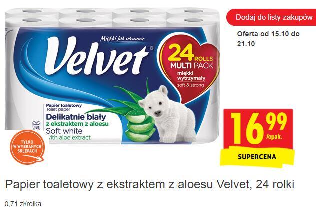 Papier toaletowy z ekstraktem z aloesu Velvet, 24 rolki - Biedronka