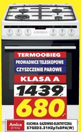 Kuchnia gazowo-elektryczna Amica 57GED3.31HZpTaDpA(W) - Euro Świecie