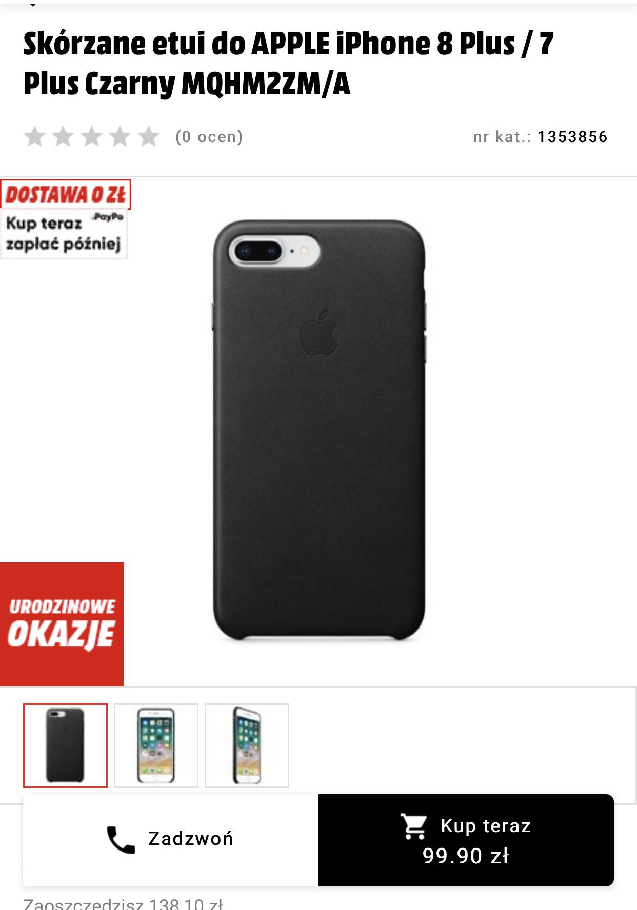 Skórzane etui do APPLE iPhone 8 Plus / 7 Plus Czarny MQHM2ZM/A