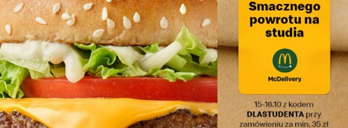 """Darmowa dostawa w Uber Eats w McDonald's z kodem: """"DLASTUDENTA"""". Tylko dzisiaj i jutro UberEats"""