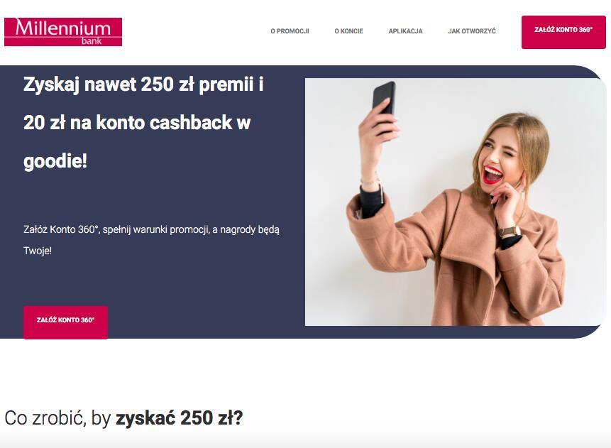 Bank Millennium: nawet 250 zł premii i 20 zł na konto cashback w goodie!