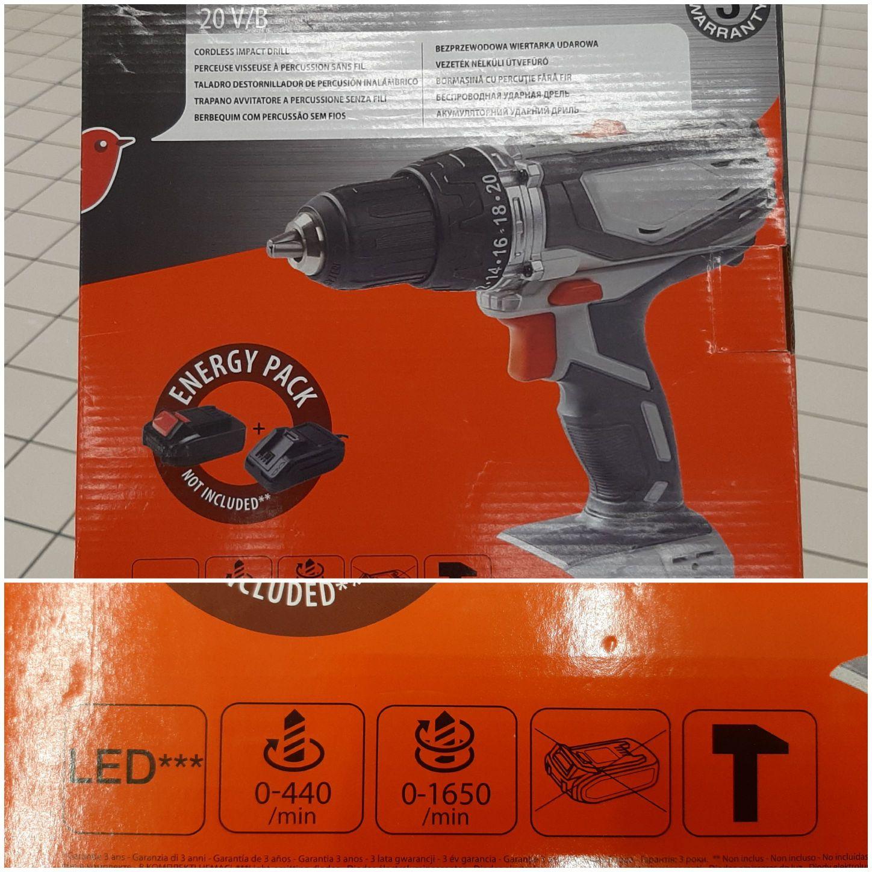 Bezprzewodowa wiertarko-wkrętarka udarowa Auchan 20V/B bez akumulatora i ładowarki