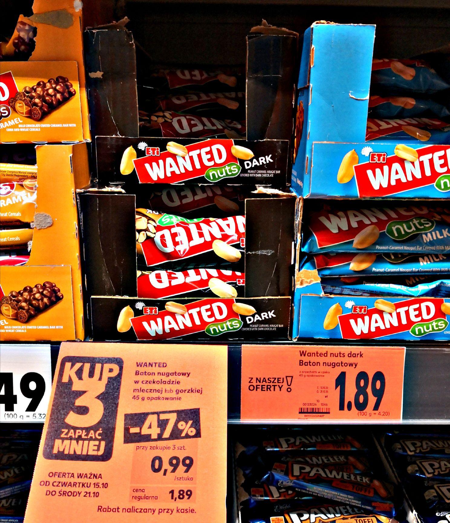 Baton Wanted w mlecznej lub gorzkiej czekoladzie @ Kaufland Słupsk