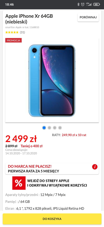 Apple iPhone XR 64gb Niebieski i czerwony