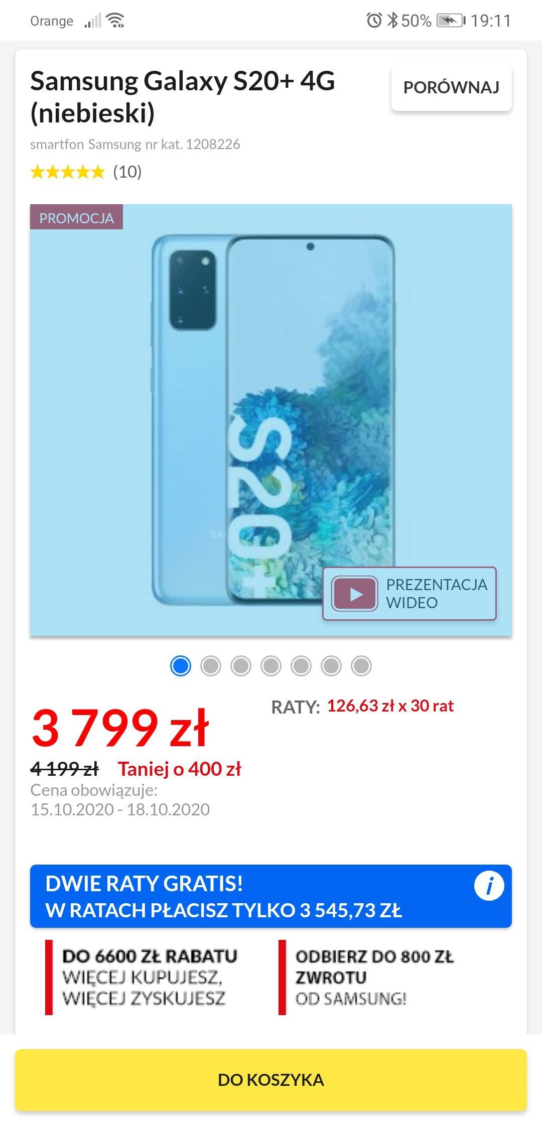 Samsung Galaxy s20+ 4G. Możliwa obniżka ceny do 2 945,73 zł