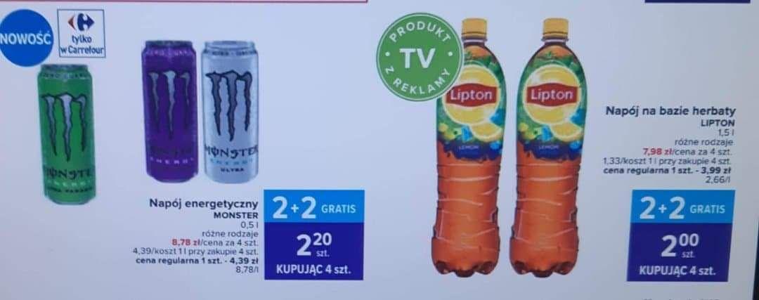 Monster Energy za 2.20zł/ Lipton za 2zł/ Prince Polo za 0.73zł i inne produkty przy zakupie 4 szt Zyskoteka 2+2 - Carrefour